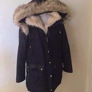 Zara Black Midlength Fur Winter ❄️ Coat